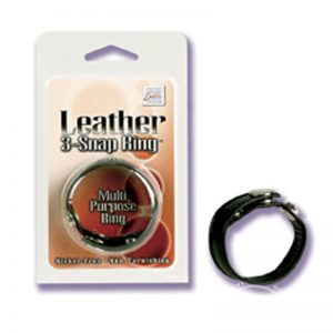 California Exotics Leather 3 Snap Ring Adjustable Multi Purpose Ring