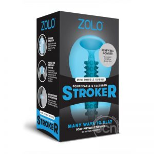 Zolo Squeezable & Textured Mini Double Bubble Male Masturbator Non Vibrating Blue