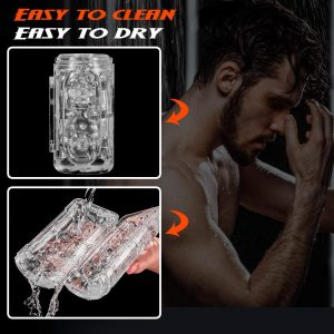 Male Masturbator Cup with 8 Steel Balls, Squeezable Transparent Realistic Pocket Masturbation,Masturbators